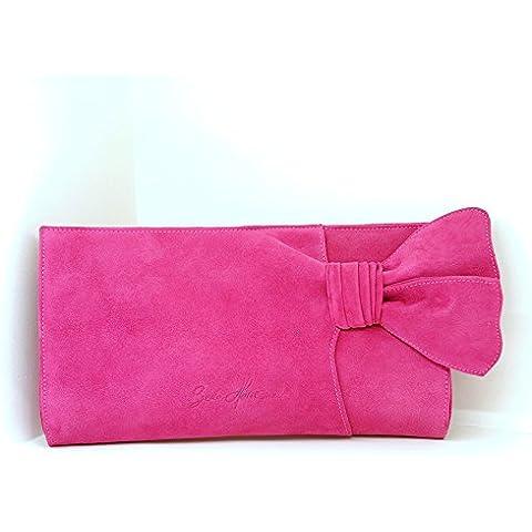 Bolso de mano confeccionado en ante color rosa fucsia. Clutch para fiesta y ceremonia tipo sobre. Modelo