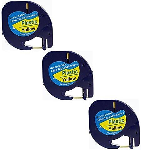 3x Compatible Dymo LetraTag 91202 Noir sur Jaune (12mm x 4m) Rubans Étiquettes Plastique pour Etiqueteuse Dymo LetraTag LT-100H, LT-100T, LT-110T, QX 50, XR, XM, 2000, Plus