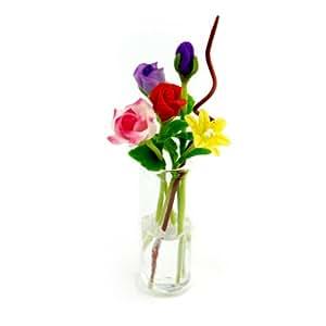 MyTinyWorld 5 Mixed Long Stem Flowers in a Glass Vase (GV73)