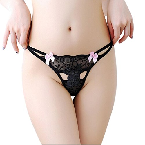 Damen sexy Lace Spitze transparent Fun unterhosen,LUCKDE Frauen Taillenslips Panties Hipsters Strings Tangas Unterteile Strumpfhosen Nachtwäsche BH Dessous Unterwäsche Bekleidung (Schwarz) (Spitzen-hemdchen, & Thong Set)