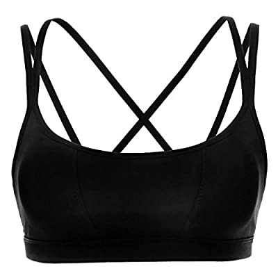 CRZ YOGA Women's Padded Wire-Free Cool-look Criss Cross Back Yoga Sports Bra