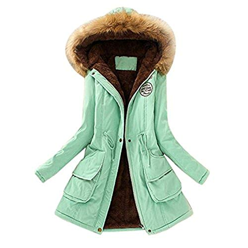 iHENGH Neujahrs Karnevalsaktion Damen Mantel Top,Women Warm Long Coat Fur Collar Hooded Jacket Winter Parka Outwear Strickjacke Tops