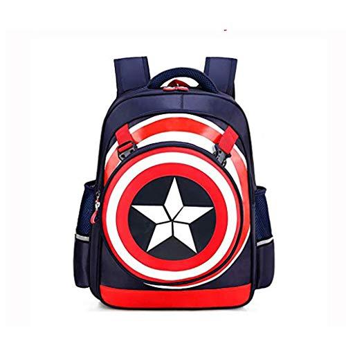 GoodChild Mochila Escolar Niños 3D Capitán América Escudo Mochila Dibujos Animados Anime Ligero Impermeable Portátil Bolsa De Gran Capacidad A-M