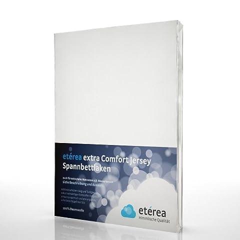 etérea Extra Comfort Jersey Baumwolle Spannbettlaken Spannbetttuch Weiß, 180x200 –