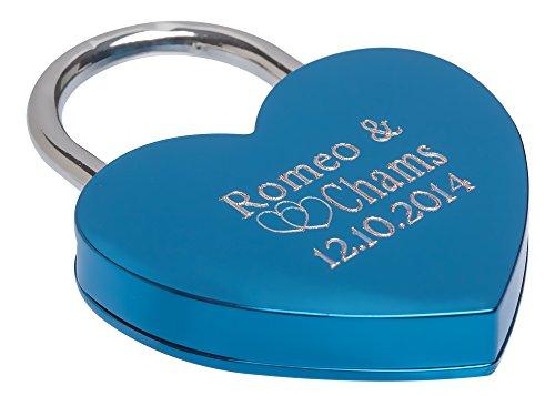 Remmo&Love HERZ BLAU Liebesschloss Herzform Schloss mit persönliche Wunsch Gravur Romantisches Liebes Geschenk zur Valentinstag Jahrestag Hochzeit Hochzeitstag Geburtstag Weihnachten Geschenk Idee -