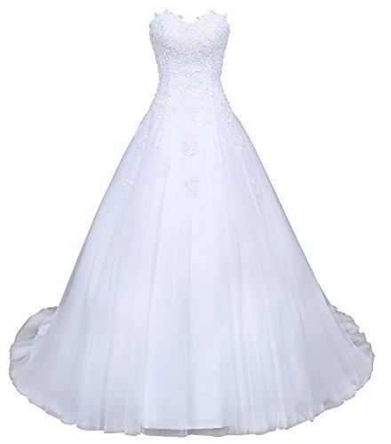 Romantic-Fashion Brautkleid Hochzeitskleid Weiß Modell W046 A-Linie Satin Stickerei Perlen Pailetten DE Größe 52 (Taft Brautkleid Meerjungfrau)