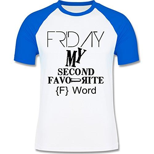 Statement Shirts - Friday - my second favourite F Word - zweifarbiges Baseballshirt für Männer Weiß/Royalblau