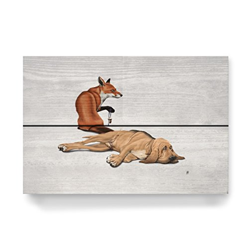artboxONE Holzbild 30x20 cm Natur Not so (Wordless) von Künstler Rob Snow - Fox Snow Tail