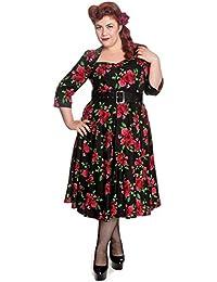 Hell Bunny 50er Jahre retro Rosen Swing Petticoat langarm Kleid Rockabilly Pin Up Dress