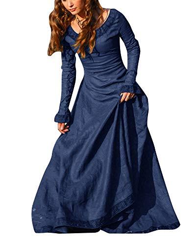 PengGengA Damen Renaissance Mittelalterlichen Korsett Kleid Maxi Party Halloween Kostüm Blau XL