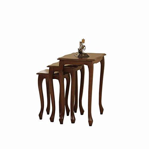 Albero Möbel Dreiersatztisch Firenze nussbaum antik gebeizt Tisch Set -