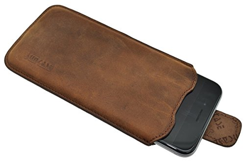 Suncase Echtleder Tasche iPhone 6 / iPhone 6s (4.7 Zoll) Etui mit *Push Out Funktion* coffee Coffee