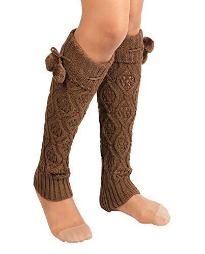 Amorar Damen Kniestrümpfe Beinwärmer Beinlinge Kabel Gestrickte Stiefel Socken Wintersocken Leggings Strumpf 40cm Lang Thermosocken Schlauchstrumpf,EINWEG Verpackung -