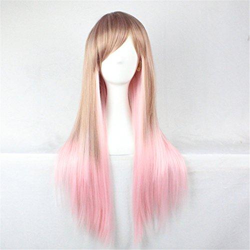 Perücken Kostüm Blond (Hochwertig Kunsthaar Lang Straight glatte Perücke mit Pony Cosplay Kostueme Karneval Perücke Frauen Blond rosa)