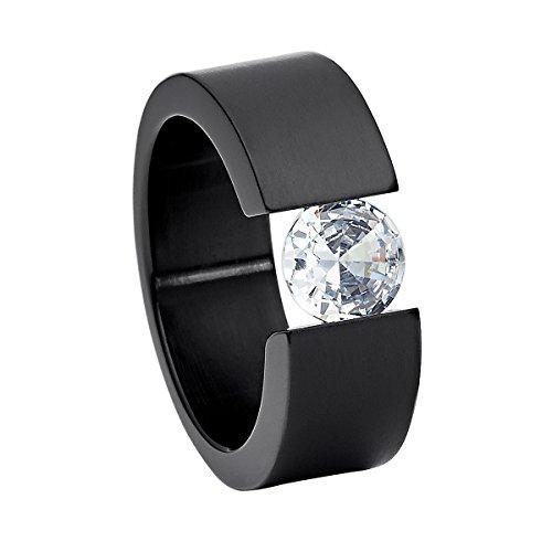 Heideman Ring Damen Turris aus Edelstahl schwarz matt Damenring für Frauen mit Swarovski Stein Zirkonia Weiss im Brillant Schliff 7mm