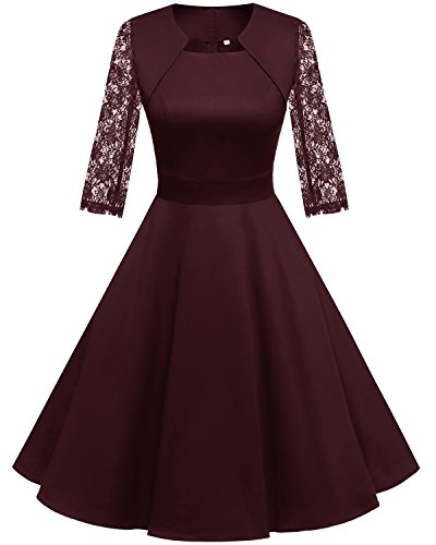 Homrain Damen 50er Vintage Retro Kleid Party Langarm Rockabilly Cocktail Abendkleider Burgundy-1 2XL