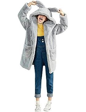 Abrigo de piel Rex artificial de gran tamaño de mujer y niña de invierno en abrigo largo con capucha y chaquetas