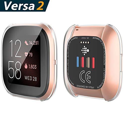 YoLin [2-Pack] Fitbit Versa 2 Schutzhülle Hülle, Weiche Ultradünne TPU Displayschutz All-Around Case für 2019 New Fitbit Versa 2
