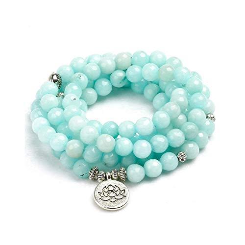 Awertaweyt Edelstein Perlen Armband 8Mm Faced Natural Blue Chalcedony 108 Mala Beads Bracelet Buddhist Om Charm Bracelet for Women Handmade Men Bangle Jewelry Gift ABCDEFCharm - Omega-3-edelsteine