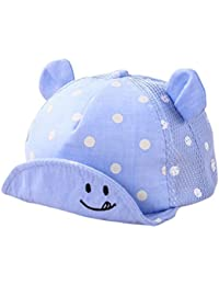 765f8438d49af0 Ziory Baby Girl and Boys Cotton Summer Breathable Snapback Cap Dots Little  Ear Hats (Blue