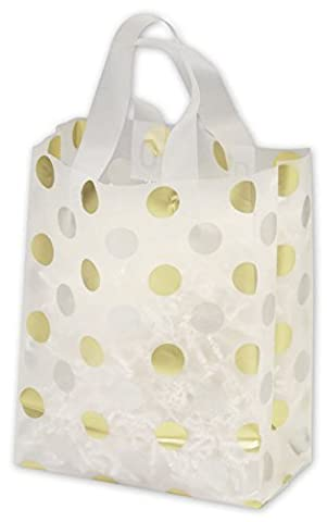 EGP Clear-Frosted Flex Loop Shoppers 8 x 4 x 10 (Gold & Silver Dots) by EGPChecks