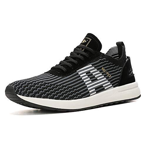 AX BOXING Herren Sportschuhe Laufschuhe Sneaker Atmungsaktiv Leichte Wanderschuhe Trainers Schuhe (43 EU, A9608-Schwarz)