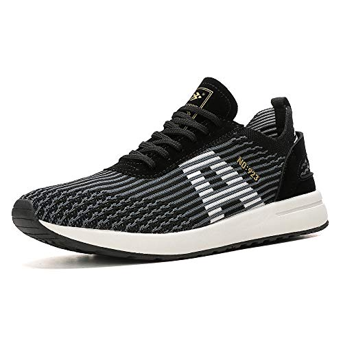 AX BOXING Scarpe Running Uomo Sneakers Sportive Ginnastica Fitness Casual Basse Trekking all'Aperto 40-46 (45 EU, A9608-nero)