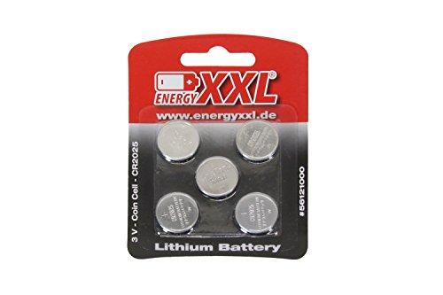 Preisvergleich Produktbild energyXXL 56121000 - Knopfzellen Lithium CR2025, 3 V, 5 Stück
