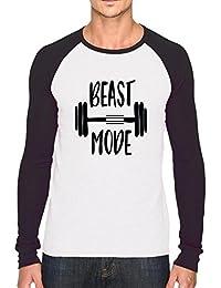 Bookmytees Beast Mode Full Sleeves Printed Cotton T-shirt For Men