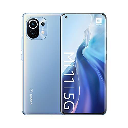 "Oferta de Xiaomi Mi 11 5G - Smartphone 8GB+128GB, 6.81"" WQHD + AMOLED DotDisplay, Qualcomm Snapdragon 888, cámara triple de 108MP+13 MP+5MP, 4600 mAh, NFC, Horizonte Azul (Versión oficial)"