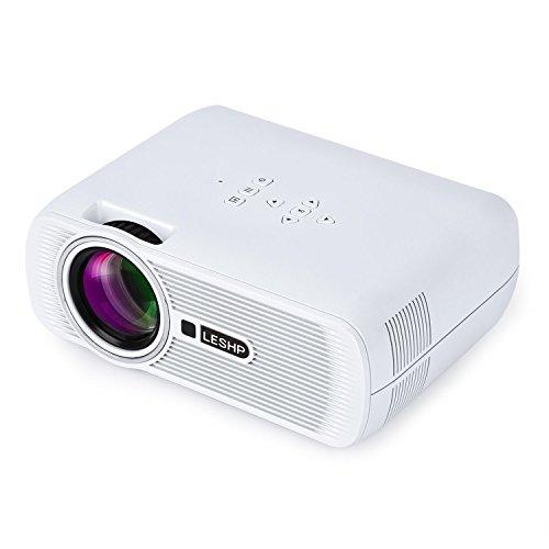 Mini Proiettore LESHP BL80 Lampada LED da LM 1200 Contrasto 1000: 1– Risoluzione HD 1080P Per Intrattenimento Film Foto Teatro Conferenze Multimediali Collegamento per il Tablet PC/Smartphone ecc