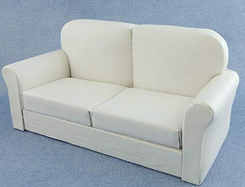 Melody Jane Puppenhaus Weiß Leder Sofa Miniatur 1/12 Wohnzimmer -