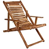 ROYAL BHARAT Seawing Wooden Folding 3-Step Adjustable Relaxing aaram Chair with armrest in Teakwood Finish Suitable for Garden and Outdoor, Living Room and Balcony use