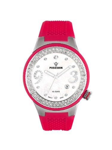 Poseidon-Kienzle - K2112014073-00430 - Montre Femme - Quartz Analogique - Cadran Argent - Bracelet Silicone Rouge
