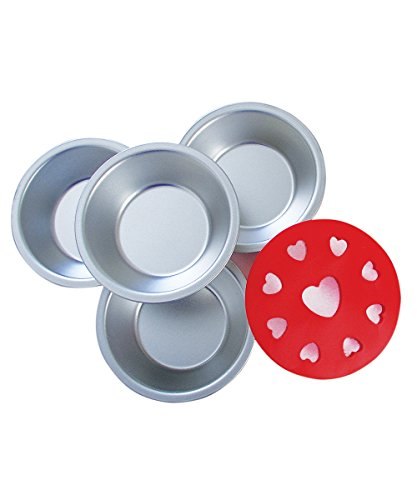 R&M International 2736 Mini Pie Pan and Decorative Heart Topper Cutter Set, Includes 4 Pans and 1 Topper Serving Tray Liner