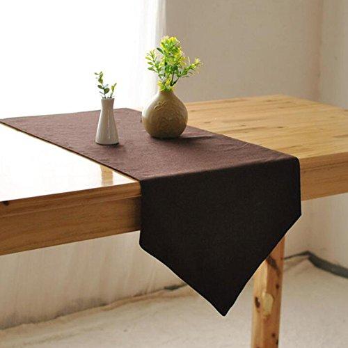 Preisvergleich Produktbild aihometm Baumwolle & Leinen Esstisch Tischläufer Kaffee Farbe Tischdecke Tisch Serviette im europäischen Stil für Ende Tisch TV Bank in Home Hotel Cafe Restaurant, M