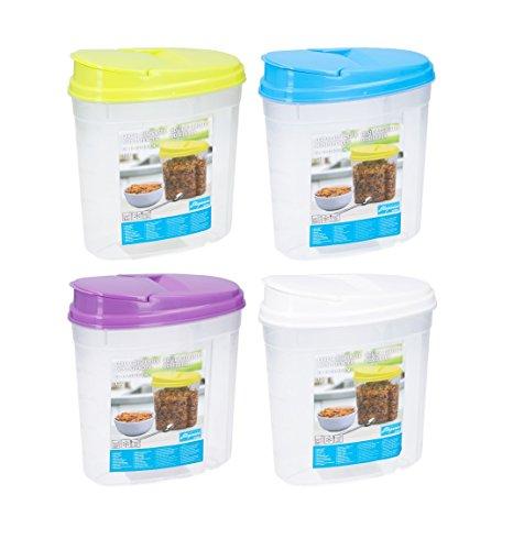 Invero - Juego 4 dispensadores plástico 1,5 L comida