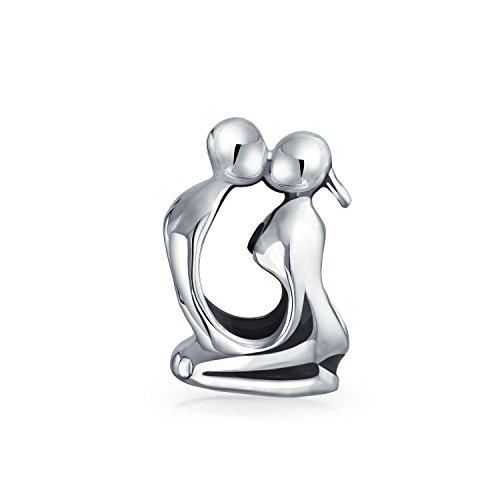 Liebhaber Küssen Skulptur Paare Charm Bead Charms Für Damen Für Freundin 925 Sterling Silber Passt Europäischen Armband (Küssen Skulptur)