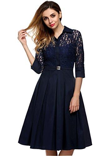 CRAVOG Damen Kleider Partykleid Abendkleid Puppe Kragen Spitzenkleid Cocktailkleid Marineblau