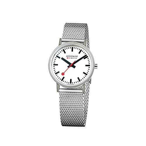 Mondaine Women's Classic 30 mm Watch with Stainless Steel polished Case white Dial and milanaise mesh bracelet Strap A658.30323.11SBV