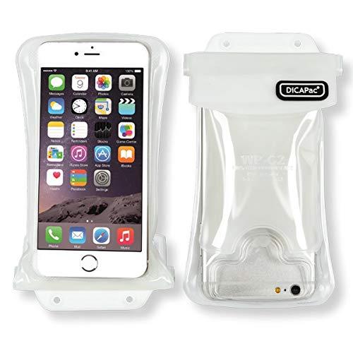 DiCAPac Wasserdichte Handytasche passend für Archos 40 Neon / 50 Cobalt / 50 Helium+ Schutz-Handyhülle/Handy-Case mit Tragegurt & Airbag - Weiß - wasserdicht IPX8 10m