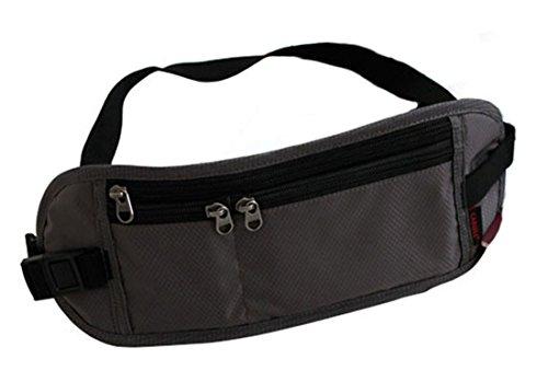 Yacn Sicherheit Travel Wallet Hidden Travel Pouch Taille Geldgürtel Körper Wallet Leicht, Oxford, 3 Reißverschlusstaschen (grau) -