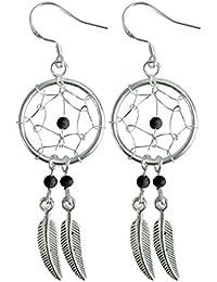 Dream Catcher Pendentif et Boucles d'oreilles - Véritable pierre Onyx - Magnifique dessin et fini à la main à une haute finition joaillerie
