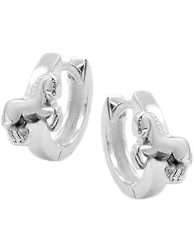 Unbespielt Schmuck Ohrschmuck Echt Silber Ohrringe Silber 925 Creolen Pferd klein für Kinder 12 x 2 mm glänzend...