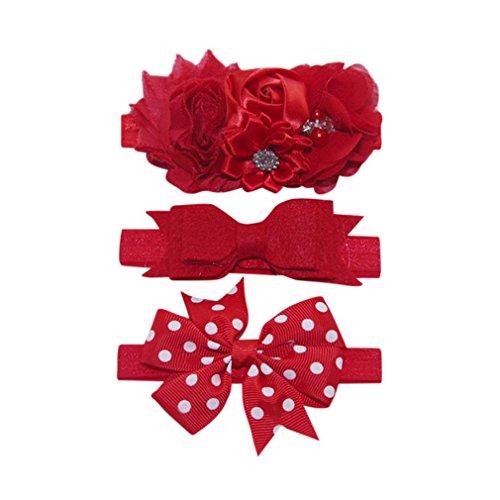 ♬GongzhuMM 3Pcs Bandeau Cheveux Filles bébé Enfants Élastique Floral Bowknot Hairband Ensemble