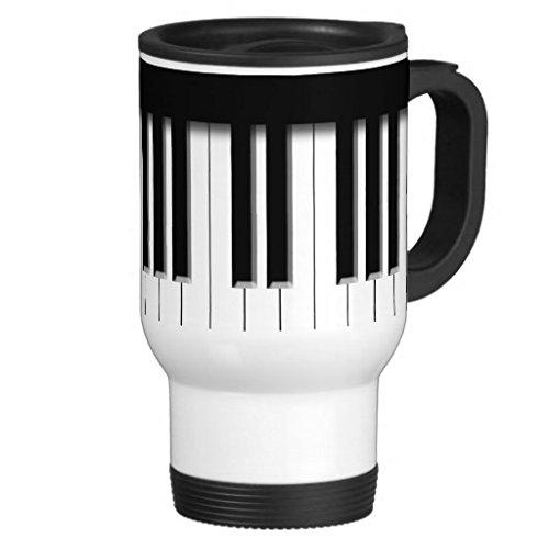 Tastatur schwarz weiß Edelstahl Tasse, 14-ounce ()