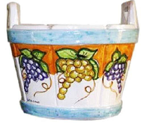 Tinella/vaso con manici, decoro con arancio e uva - ceramica artistica di vietri, dipinta a mano (maiolica); diametro cm. 40, altezza cm.41