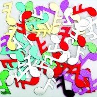 ### Folien-Konfetti Noten, BUNT, Box ca. 5,7x4x1,2 cm ###