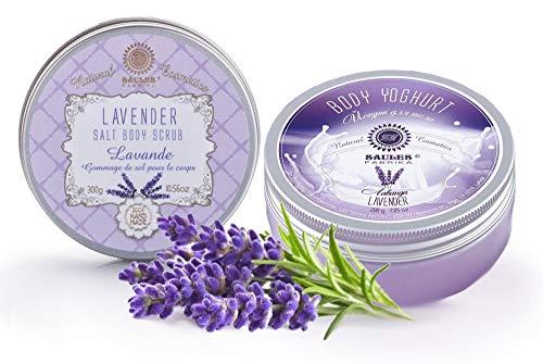 Saules Fabrika Kosmetik Geschenk-Set Körper-Peeling + Creme, (Body-Scrub + BodyYoghurt), mit reichen Ölen, 100% Vegan, Bio, Handmade, mit Meersalz (Lavendel) -