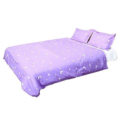 sourcingmap Moon Stars Pattern Pillowcase Quilt Cover Bedding Set Single Purple